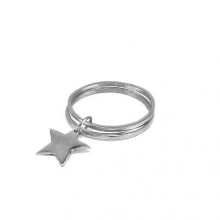 vestopazzo alluminio bracciale donna doppio bangle pendente stella