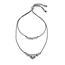 vestopazzo alluminio collana donna 2 fili sfere e cuore
