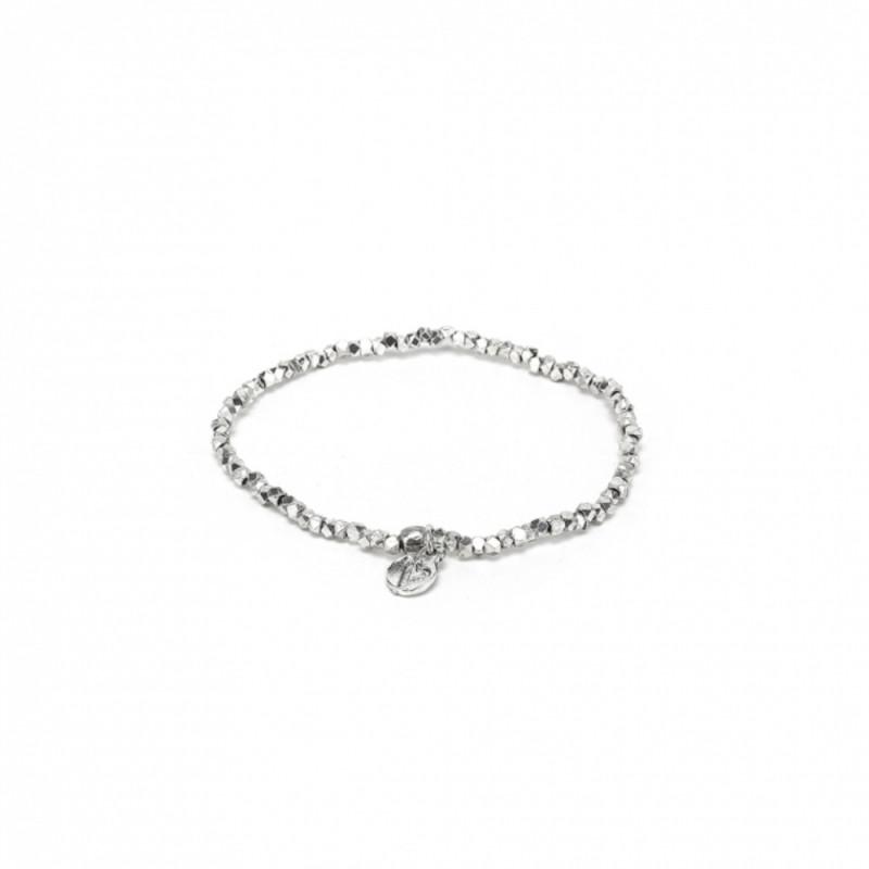 Bracciale Elastico Micro Sfere Diamante Placcato Argento
