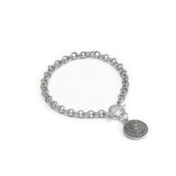 vestopazzo placcato argento bracciale catena donna moneta