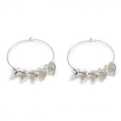 vestopazzo placcato argento orecchini donna cerchi micro filo cuori piatti/sfere