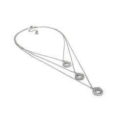 vestopazzo collana placcato argento donna 3 catene anelli microfilo
