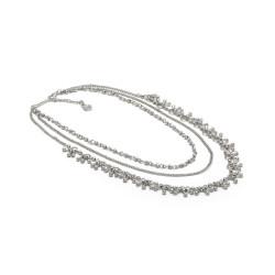 vestopazzo collana placcato argento donna 3 catene mini drops