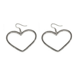 vestopazzo orecchini cuore vintage placcato argento donna