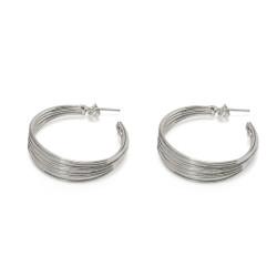 vestopazzo orecchini cerchi multi fili placcato argento donna
