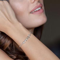 vestopazzo bracciale elastico 5 cuori bombati placcato argento donna
