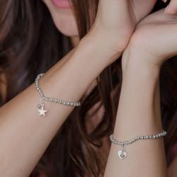 vestopazzo bracciale elastico charm cuore placcato argento donna