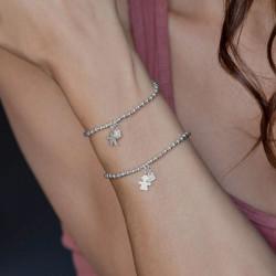 vestopazzo bracciale elastico charm love girl placcato argento donna