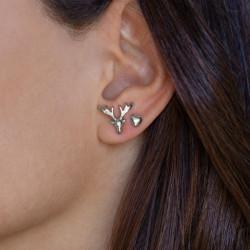 vestopazzo orecchini cuore e cervo placcato argento donna