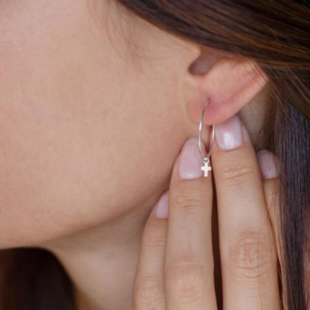 vestopazzo orecchini micro filo croce placcato argento donna
