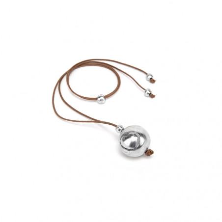vestopazzo alluminio collana donna lounge grande boule single a coeur colore corda
