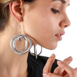 vestopazzo alluminio orecchini donna 2 ronde e 1 bille foto