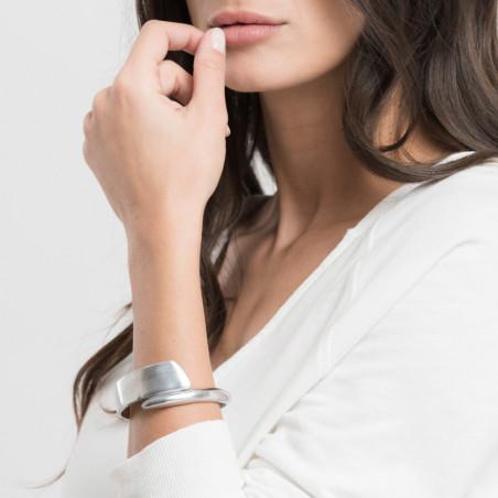 vestopazzo alluminio bracciale donna 1 cm lisse battu croise