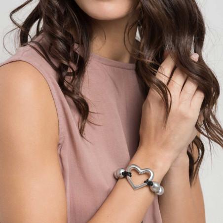 vestopazzo alluminio bracciale donna fil noir cuore filo colore nero