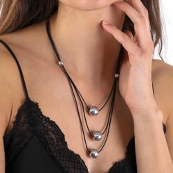 vestopazzo alluminio collana donna 3 fils boule colore nero