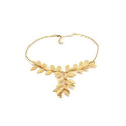 vestopazzo ottone collana donna corta micro foglie